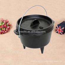 2016 productos nuevos hierro fundido negro caliente de la venta tres piernas horno holandés que acampa cookware horno holandés