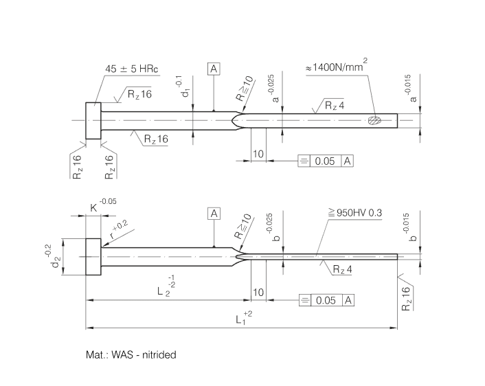 DIN1530/ISO8693 Blade Ejector Pins Nitrired and Hardened