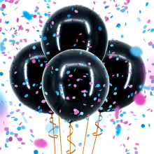 Gender Reveal Balloons Confetti Decoration Kit for Girl or Boy? Pink Blue & Gold Confetti, Giant 36'' Black