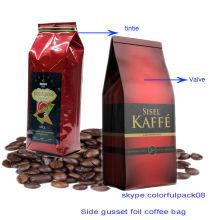 Saco de feijão de café da folha de alumínio com válvula / 16 oz saco de café / tamanho diferente de embalagem de grãos de café
