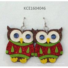 Lovely Owl Sticker Earrings with Metal