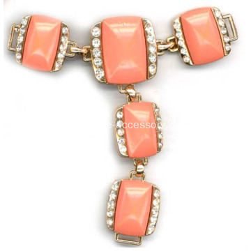 Fashion Sandal Chain with Rhinestone and Pink Resin Diamond Embellished
