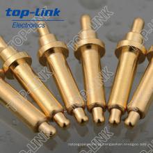 Pin de Pogo de latão com acabamento duplo com mola carregada e Gold-Plated, carga atual 2 ~ 15A, resistência de contato: 20 ~ 30mohm