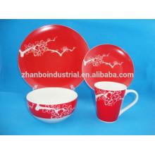 16pcs cerâmica dishware / china sets de cerâmica / prato vermelho conjuntos