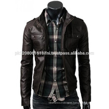 fit classic customized slim fit men pu leather / original leather jacket
