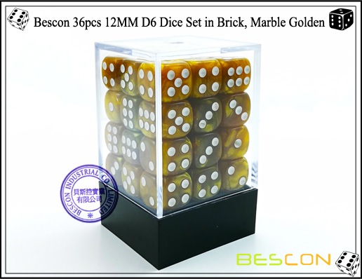 Bescon 36pcs 12MM D6 Dice Set in Brick, Marble Golden-2