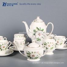 Heißer Verkaufs-guter Entwurfs-Blumenfeinknochen-China-Tee-Kaffee-Plätzchen-Zucker-keramischer Satz, keramischer Teesatz gebildet in China