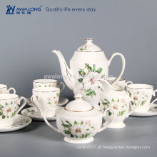 Hot Sale Bom Design Floral Fine Bone China Chá Café Cookie Açúcar Cerâmica Set, Cerâmica Tea Set Made In China
