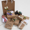 Atacado DIY Kraft Papel Jóias Gift Packing Box com Decoração