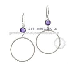 Handmade Semi Precious Amethyst Gemstone Bezel Setting 925 Sterling Silver Earring Manufacturer