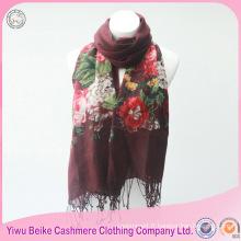 2017 nouveau style long fleur brodé pattren hiver tricoté 100% coton écharpe
