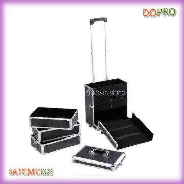 4 em 1 preto de rolamento de alumínio Travel Trolley jóias caso com gavetas (satccm022)