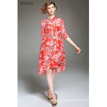 Fashion Elegant Silk Loose Floral Printed Dress