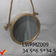 Espelho redondo decorativo moldado metal do vintage da corda