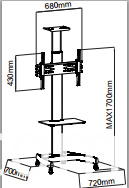 AVRT002 TV stand size drawing
