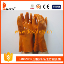 Guantes anaranjados de la industria del PVC, trazador de líneas 100% del algodón Dpv102