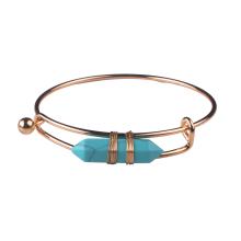 Bracelet jonc manchette prisme hexagonal turquoise plaqué or