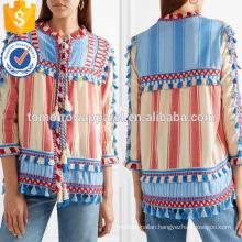 Tasseled Multicolored Striped Three Quarter Length Sleeve Cotton Jacket Manufacture Wholesale Fashion Women Apparel (TA0008J)