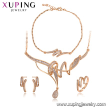 64576 Xuping wholesale Environmental Copper materials noble 18k gold jewelry set imitation jewelry