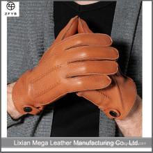 Высококачественные зимние кожаные перчатки из оленьей кожи. Модные мужские шерстяные перчатки из оленьей кожи.