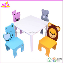 Table and Four Chairs with Animal Pattern (WO8G089)