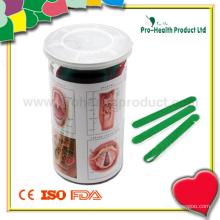 Dépresseur en languette en plastique dans une boîte à anneaux en PVC (PH1037B)