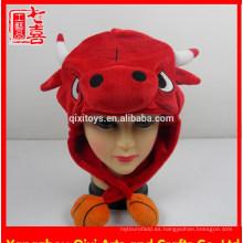 Nuevos diseños felpa cabeza de toro en forma de gorro de peluche animal sombrero