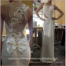Vestido de Noiva Perlas románticas Volver Custom Made Sheer Scoop cuello Plisados Cuerpo Gasa Long Sheath Beach Wedding Dresses MW2209
