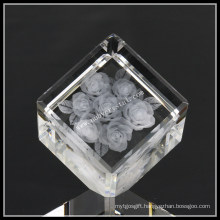 2 Inches Crystal Cut Corner Cube Laser Engraved Rose (ND-1021)