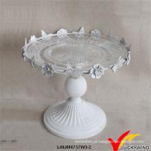 Francês, estilo, antiga, branca, bolo de casamento, suporte, metal, vidro