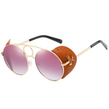 Custom promotional vintage retro UV400 round women metal sunglasses