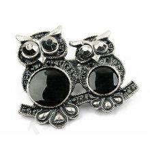 New Design Black Double Owl Brooch BH12