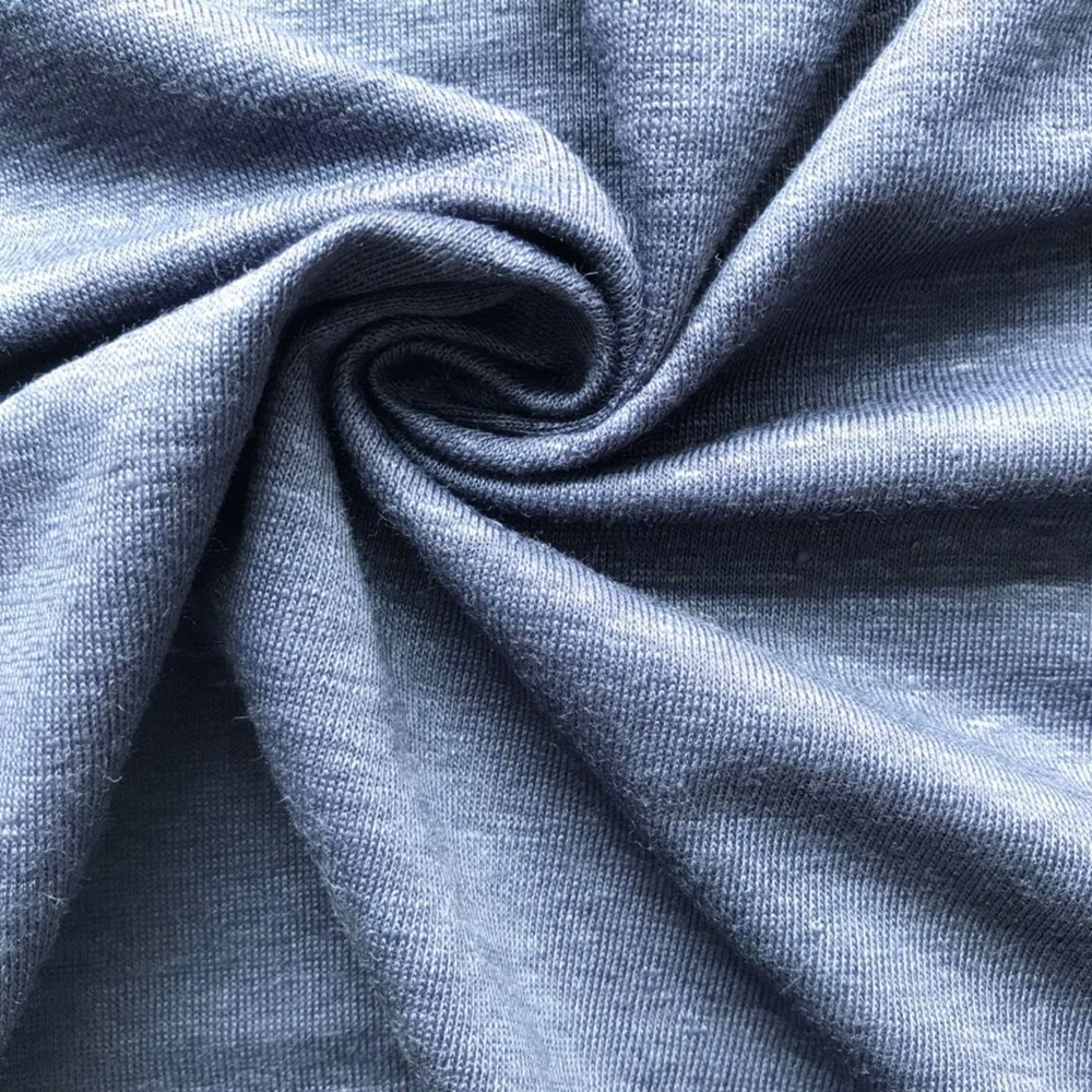 Dark navy linen knitting jersey fabric spandex