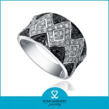 Wide Silver Zircon Jewelry for Man (SH-R0070)