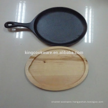 Non-Stick /pre-seasoned Cast Iron Pizza sizzling pan/plate with woodbase