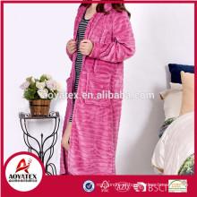 alta qualidade flanela fleece zipper mulheres roupão