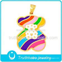 Customer design gold plating colorful enamel cartoon animal teddy bear stainless steel necklace