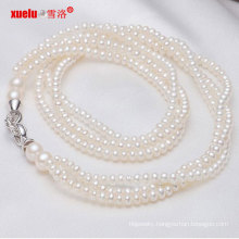 Fashion 3strands Small Natural Freshwater Pearl Necklace Jewelry (E130001)
