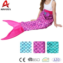 Soft and beautiful flannel fleece mermaid tail blanket for lovely girls