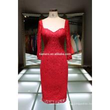 Último vestido diseños de manga larga de encaje rojo vestidos de noche 2016