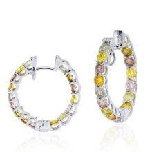 925 Sterling Silver Assorted Colored Diamond Hoop Earrings Jewelry