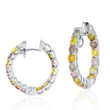 925 Sterling Silver Assorted Colored Diamond Hoop Brincos Jóias