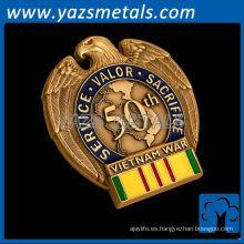 monedas personalizadas de metal, de alta calidad personalizados águila en forma de pin insignias