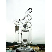 Enjoylife Hbking Glas Wasserpfeife Double Barrel Percolator Per High End Hand geblasen Rauchen Glas Wasserpfeifen DAB Rigs 14mm gemeinsame Wasserpfeifen