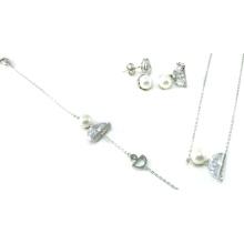 Venta al por mayor oro blanco plateado plata 925 joyas conjunto (s3321)