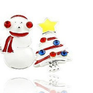 Bijoux de Noël / Boucle d'oreille de Noël / Noël bonhomme de neige (XER13367)