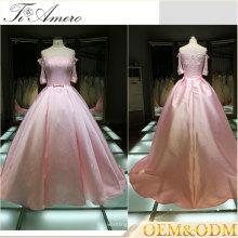 2017 Pink Una línea de piso de longitud vestido de noche vestido de fiesta