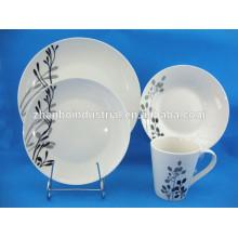 Vajilla vajilla conjunto con la calcomanía, vajilla floral conjuntos de porcelana