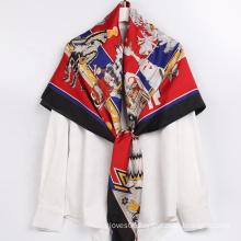 Amazon Hot Selling Designer Fashionable Silk Scarf Luxury Oversized Square Scarves
