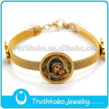 Bracelet de médaille catholique Notre-Dame de Guadalupe en acier inoxydable avec maille chaîne pour fille avec bracelet jonc en forme de trèfle à quatre feuilles